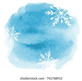 abstract winter watercolor background with snowflakes. light blue blot with paper texture
