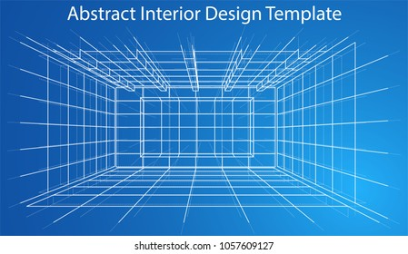 Abstract Wireframe Interior. Sketch Style. 3D Illustration