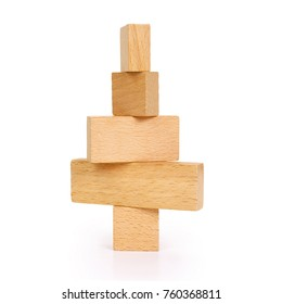 Abstract wooden Christmas tree on white background, contains clipping path.