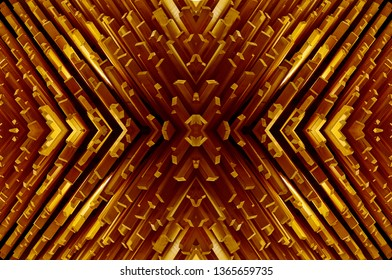 Abstract .Wooden planks fixed vertical.Concept symtry, geometry.Orange.Abstract for print