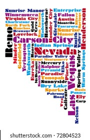 abstract word cloud based vector map of Nevada state
