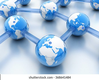 Abstract World-wide web on blue background (done in 3d)