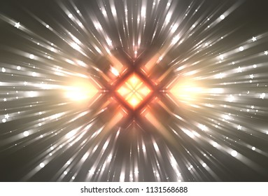 Abstract yellow background burst star. Explosion star with particles. Beautiful illustration.