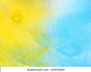 abstract yellow and blue watercolor paper