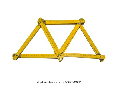abstract yellow folding ruler with white background