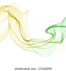 abstract yellow green band wave isolated on white background raster