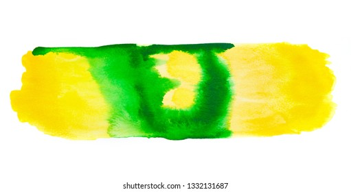 Abstract yellow and green watercolor, on white background. Hand drawn watercolour illustration. Vivid art design background