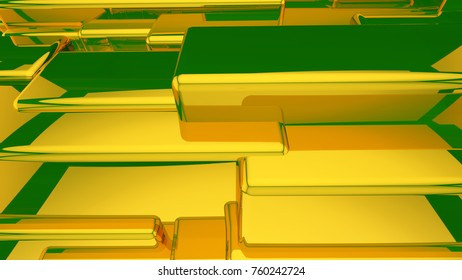 Abstract yellow highlights, 3D computer rendering a brilliant generation of glass surface