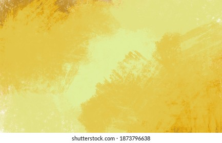 Abstract yellow paint texture background made with digital brush paint