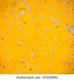 Abstract yellow texture grunge wall background.