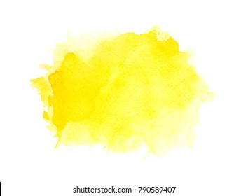 abstract yellow watercolor splash background.art by painted image