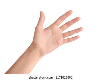Abstract young woman's hand on white background