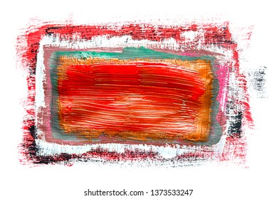 Abstraction for the background, rectangular pattern of multicolored paints on a white isolated background. Horizontal frame