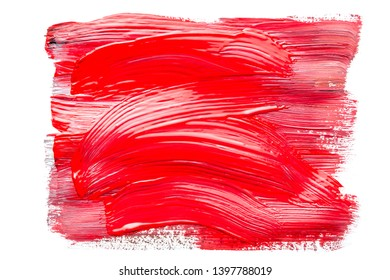 Abstraction for background, rectangular pattern with red paint on white isolated background. Horizontal frame