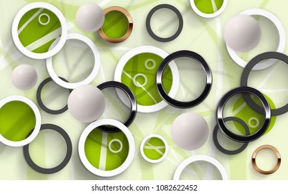 Abstraction of colored circles with green balloons on a white background. 3D Wallpapers for interior. 3D rendering.
