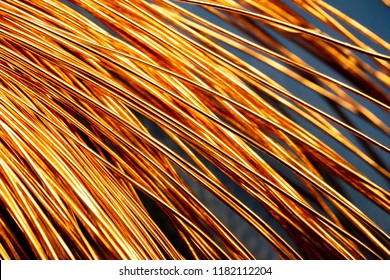 abstraction copper bright wires in a large number of curved arc, copper bends