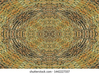 Abstraction in the form of concentric lines of refractory red brick