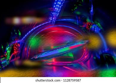abstraction led lights carbon fibre black background