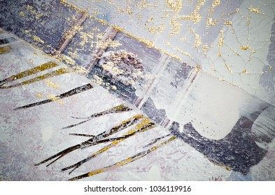 Abstraction. Modern art painting with golden paint- Very beautiful trendy  artwork for your design project
