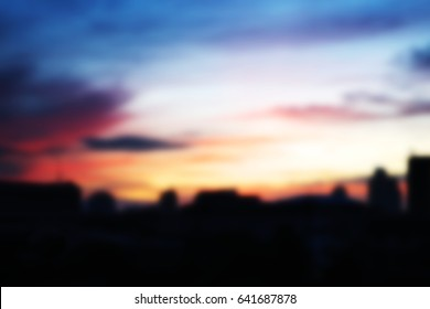 Abstractr blurry background of cityscape in golden hour