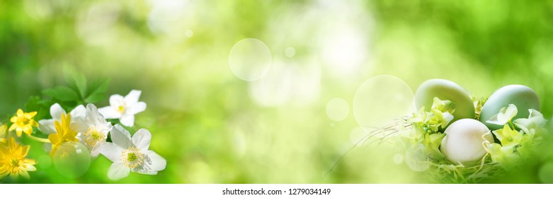 Abstrakt bright green spring background with easter eggs and flowers