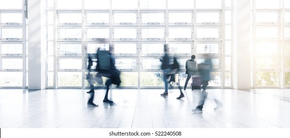 abstrakt image of people in the lobby of a modern business center