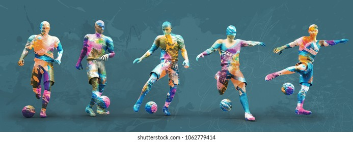 abstrct soccer players; 3d illustration