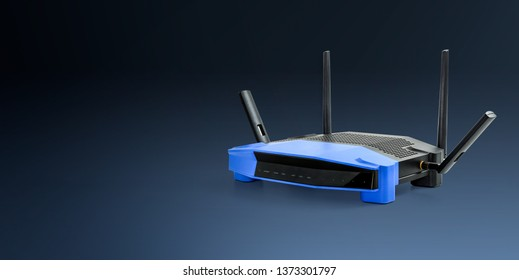 abtract 5g , 2.4g modern Wireless Wifi Router blue background with clipping path.