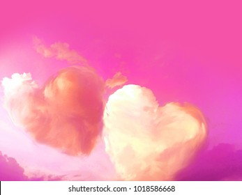 abtract hearts shape on pink sky in the sky, signs of love for valentine's day