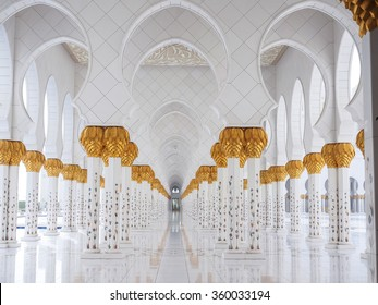 ABU DHABHI, UAE - JUN 8: View of the grand Sheikh Zayed mosque - Panorama of decoration of Sheikh Zayed Mosque at Abu Dhabi, photo was taken on 8-Jun-2015