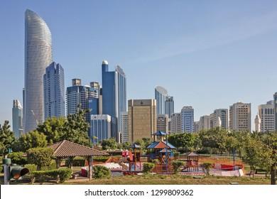 Abu Dhabi city skysrapers, United Arab Emirates.