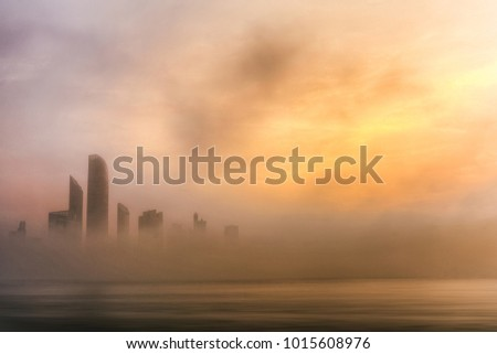 Abu Dhabi Cityscape - Foggy Morning