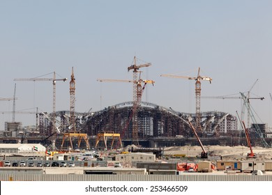 ABU DHABI - DEC 23: Construction Site of the new International Airport in Abu Dhabi. December 23, 2014 in Abu Dhabi, United Arab Emirates