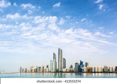 Abu Dhabi, EAU - December 15th 2015 - The famous skyline of Abu Dhabi in a blue sky day, Abu Dhabi, EAU.