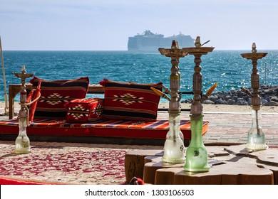 Abu Dhabi Emirate. Hookah cafe on the beach on Sir Bani Yas island, UAE