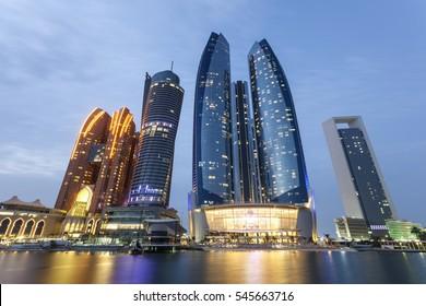 Abu Dhabi illuminated at night. United Arab Emirates, Middle East