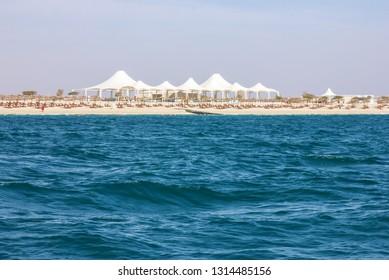 Abu Dhabi island Sir Bani Yas sea side view.