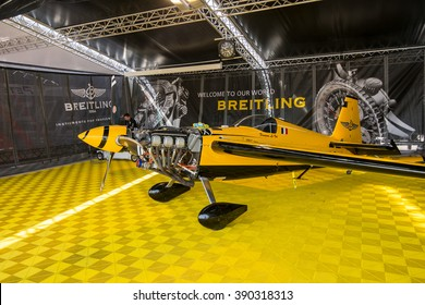 Abu Dhabi - MARCH 12: Breitling Racing team Hangar with plane making repair  in Al Bateen Airport on Red Bull Air Race World Championship 2016 on March 12, 2016 in Abu Dhabi, UAE