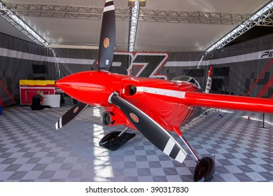 Abu Dhabi - MARCH 12: Peter Podlunsek Hangar with plane in Al Bateen Airport on Red Bull Air Race World Championship 2016 in United Arab Emirates on March 12, 2016 in Abu Dhabi, UAE