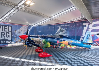Abu Dhabi - MARCH 12: Spielberg Team Hangar with plane in Al Bateen Airport on Red Bull Air Race World Championship 2016 in United Arab Emirates on March 12, 2016 in Abu Dhabi, UAE