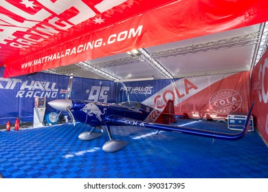 Abu Dhabi - MARCH 12: Team Matt Hall Racing Hangar with plane in Al Bateen Airport on Red Bull Air Race World Championship 2016 in United Arab Emirates on March 12, 2016 in Abu Dhabi, UAE