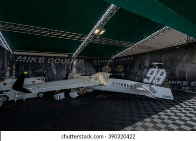 Abu Dhabi - MARCH 12: Team Goulian  Hangar with plane in Al Bateen Airport on Red Bull Air Race World Championship 2016 in United Arab Emirates on March 12, 2016 in Abu Dhabi, UAE