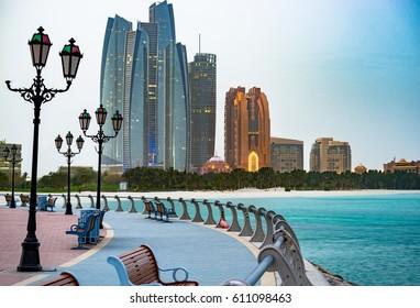 Abu Dhabi promenade at sunrise United Arab Emirates.