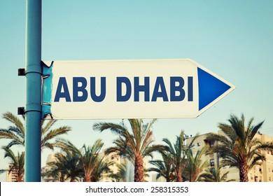 Abu Dhabi Road Sign. United Arab Emirates