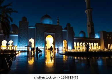 Abu Dhabi Sheik Zayed Mosque | Beautiful islamic architecture | The mosque is located in the capital city of the United Arab Emirates | Tourist attraction - Abu Dhabi, UAE, March 18, 2020