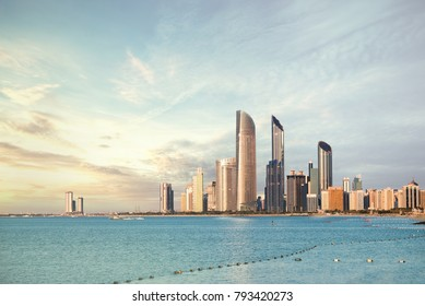 Abu Dhabi Skyline Corniche at sunset