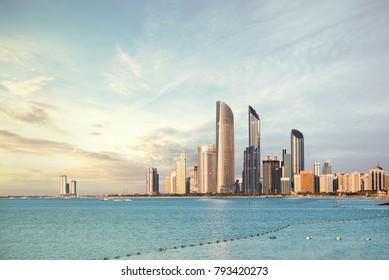 Abu Dhabi Skyline Corniche at sunset