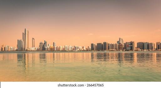 Abu Dhabi Skyline during golden hour at sunset