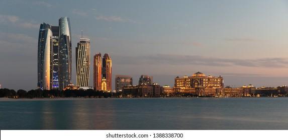 Abu Dhabi Skyline during sunset