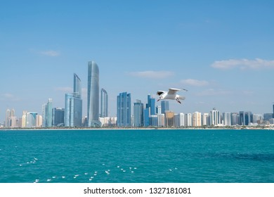 Abu Dhabi skyline on a beautiful day with birds flying in the sky.